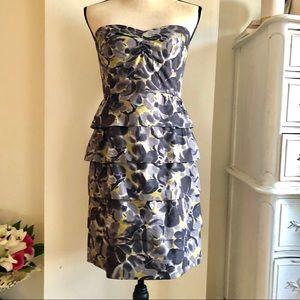 J Crew 100% Cotton Strapless Floral Dress. Size 6